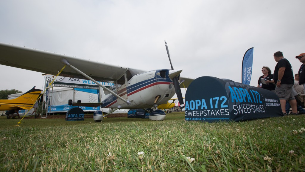 The AOPA Sweepstakes 172 will get a new paint job after spending the week in Oshkosh. Photo by Jim Moore.